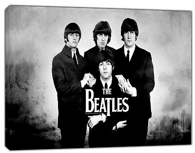 BANKSY THE BEATLES BANDANNA B//W PHOTO PRINT ON FRAMED CANVAS WALL ART