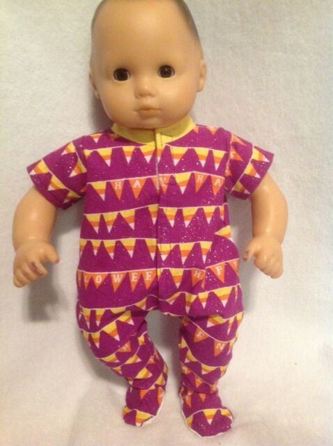 Bitty Baby Halloween Purple candy corn sleeper pajamas 15