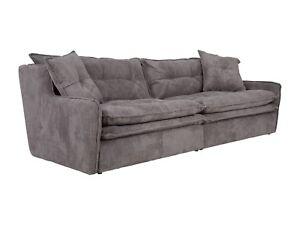 Sofa 4 Sitzer Grau Cord Wohnlandschaft Wohnzimmer Couch Mobel