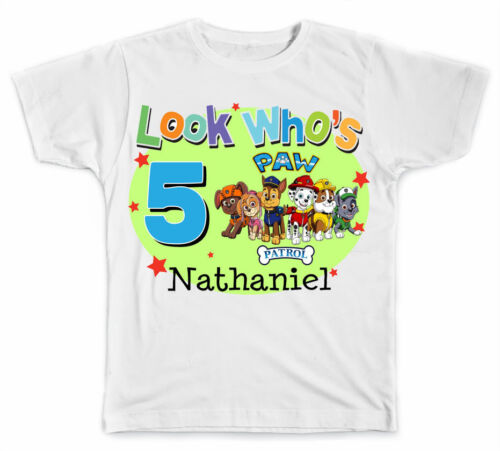 Personalized Look Who/'s Paw Patrol Birthday T-Shirt