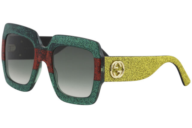 1aaea29cfc22 Gucci Urban Collection GG0102S GG/0102/S 006 Green/Red Glitter Sunglasses  54mm
