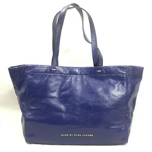 """71a4f6eecf96 Marc By Marc Jacobs Blue """"What s The T"""" Tote Leather Handbag"""