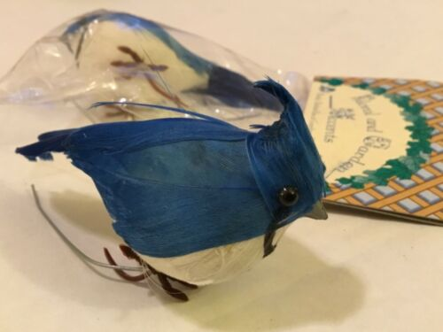 """NEW 2 ACCENT DESIGN BLUE /& WHITE ARTIFICIAL BIRDS FOR CRAFTS WREATHS FLORAL 3"""""""