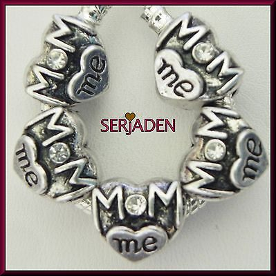 5   Mom Me Heart    Spacer w/ Clear Stone Fits European Style Charm Jewelry R190