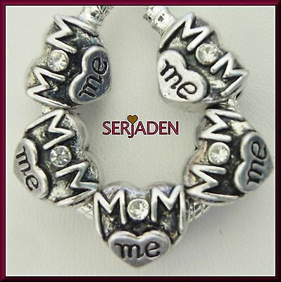 5 Mom Me Heart with Clear Stones Spacer Charms European 13 * 11 & 5 mm Hole R190