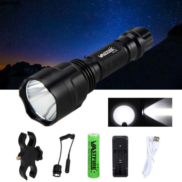 5000lm C8 LED Flashlight Torch Hunting Lamp+Scopes Mount+Pressure Switch+18650