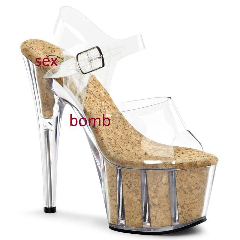 SEXY sandali trasparenti sughero plateau tacco 18 DAL 35 AL 42 fashion GLAMOUR