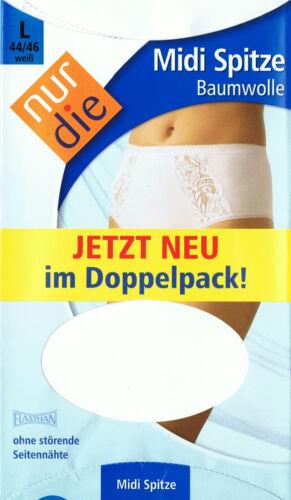 1 x  NUR DIE Doppelpack L 44-46 2 Stück Midi Spitze Slip Baumwolle weiß   Gr