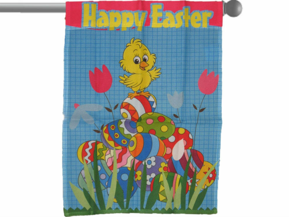 "HAPPY EASTER EGGS BUNNY RABBIT GARDEN BANNER//FLAG 28/""X40/"" SLEEVED POLY"