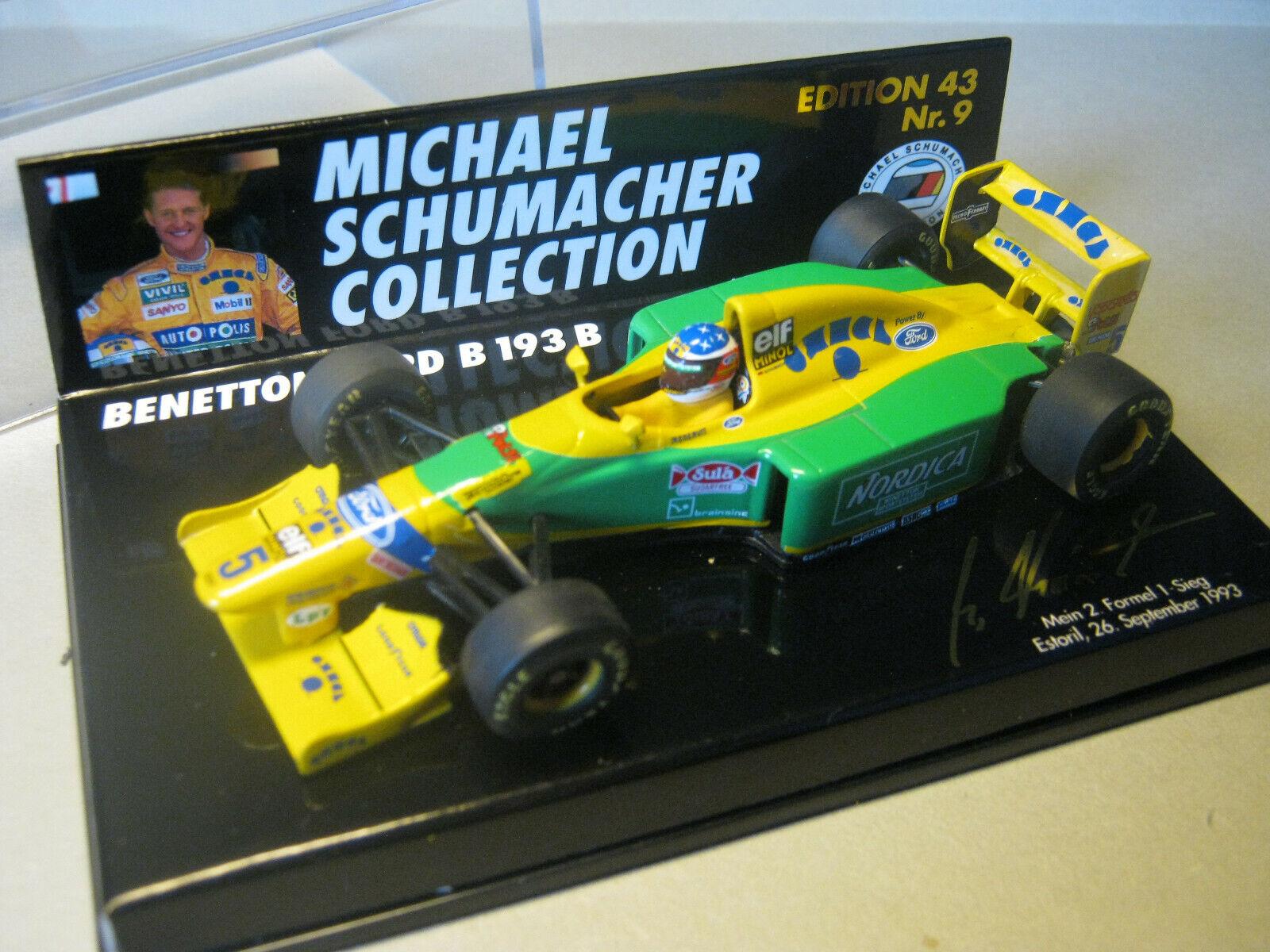 1 43 BENETTON FORD b193 M. Schumacher 1993  Nordica  Minichamps msc430009 NEW