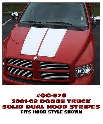 SOLID DUAL HOOD STRIPES DECAL KIT QG-576 2001-08 DODGE TRUCK