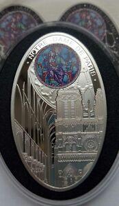 Notre Dame de Paris 28.28g Silver Proof Coin Niue 2010 $ 1 Gothic Cathedrals