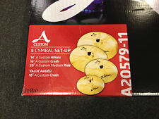 "Zildjian A20579-11 A Custom Series 5 pc. Cymbal Set 20"", 16"", 14"" pr., FREE 18"""