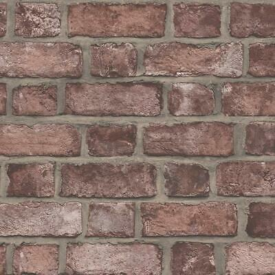 Norwall Fh37518 Farmhouse Brick Prepasted Wallpaper Cajun Red
