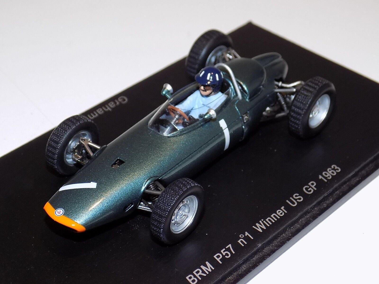 1/43 Spark F1 BRM P57 coche de Fórmula 1 1 Ganador GP Graham Hill 2018 S1152 EE. UU.