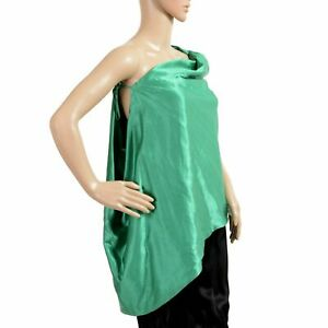 Just-Cavalli-Women-039-s-Green-One-Shoulder-Blouse-Top-US-4-IT-40