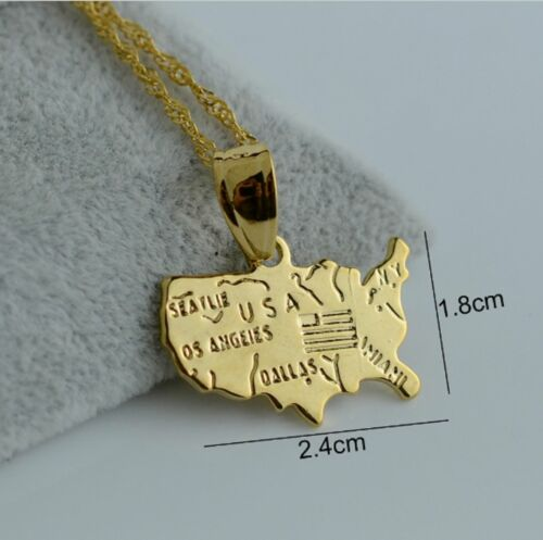 USA Country Dallas Map 18K Gold Plated Love Necklace Chain Pendant NY America