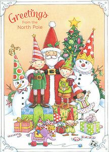 Mary engelbreit greetings from the north pole santa elves christmas image is loading mary engelbreit greetings from the north pole santa m4hsunfo