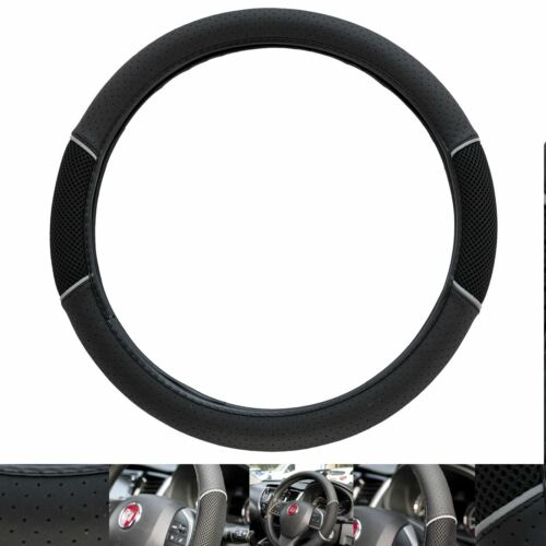 Leather Look Black /& Grey Vented Steering Wheel Cover for Range Rover Vogue