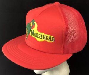 a396b4fa9bd42 Vtg 80s Mesh Trucker Hat Snapback Patch Cap Moosehead Beer Lager ...