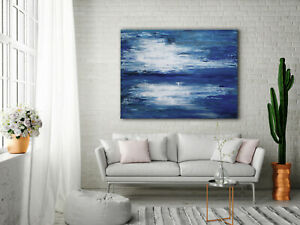 Original-Abstract-Painting-48x36-Large-Canvas-Art-Gray-Blue-Abstract-Modern-Art