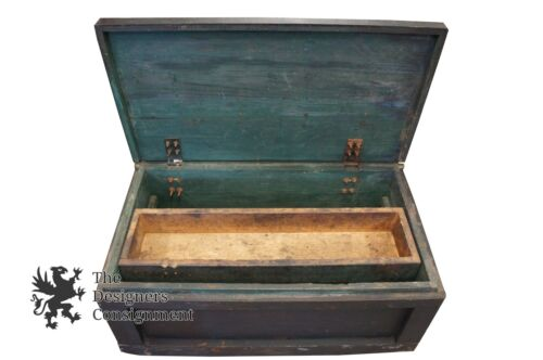 Vtg Solid Wood Rustic Tool Box Green Storage Chest Container Ships Arts + Crafts