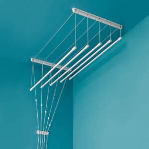 Plafond Sèche-linge 6x140cm Poulie Blanc Étendoir Vêtement Blanchisserie Séchage