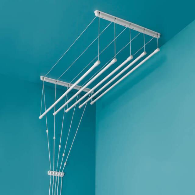 Plafond Sèche-linge 6x170cm Poulie Blanc Étendoir Vêtement Blanchisserie Séchage