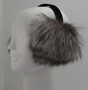 Real Silver Fox Fur Earmuffs New Made in the USA