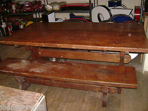 Image Is Loading VINTAGE TRESTLE TABLE W BENCHES PICNIC STYLE TABLE