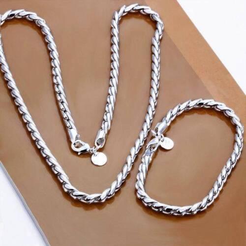 SCHLANGENKETTE SCHLANGENARMBAND Set Sterlingsilber 925 45cm Halskette s28