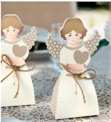 Dedito 10 Scatole Angelo Comunione Battesimo Bomboniera Porta Confetti Made In Italy