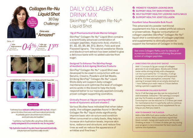 SkinPep Collagen Re-nu Liquid Shot Sachet 300g 30 Day Supply Antiageing  Drink