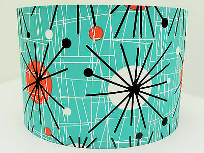 Retro 50's Atomic Turquoise Fabric Lampshade