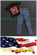 """❶1/6 clothes Che Guevara Revolution graphic T shirt Jeans Hot toys 12"""" figure❶"""