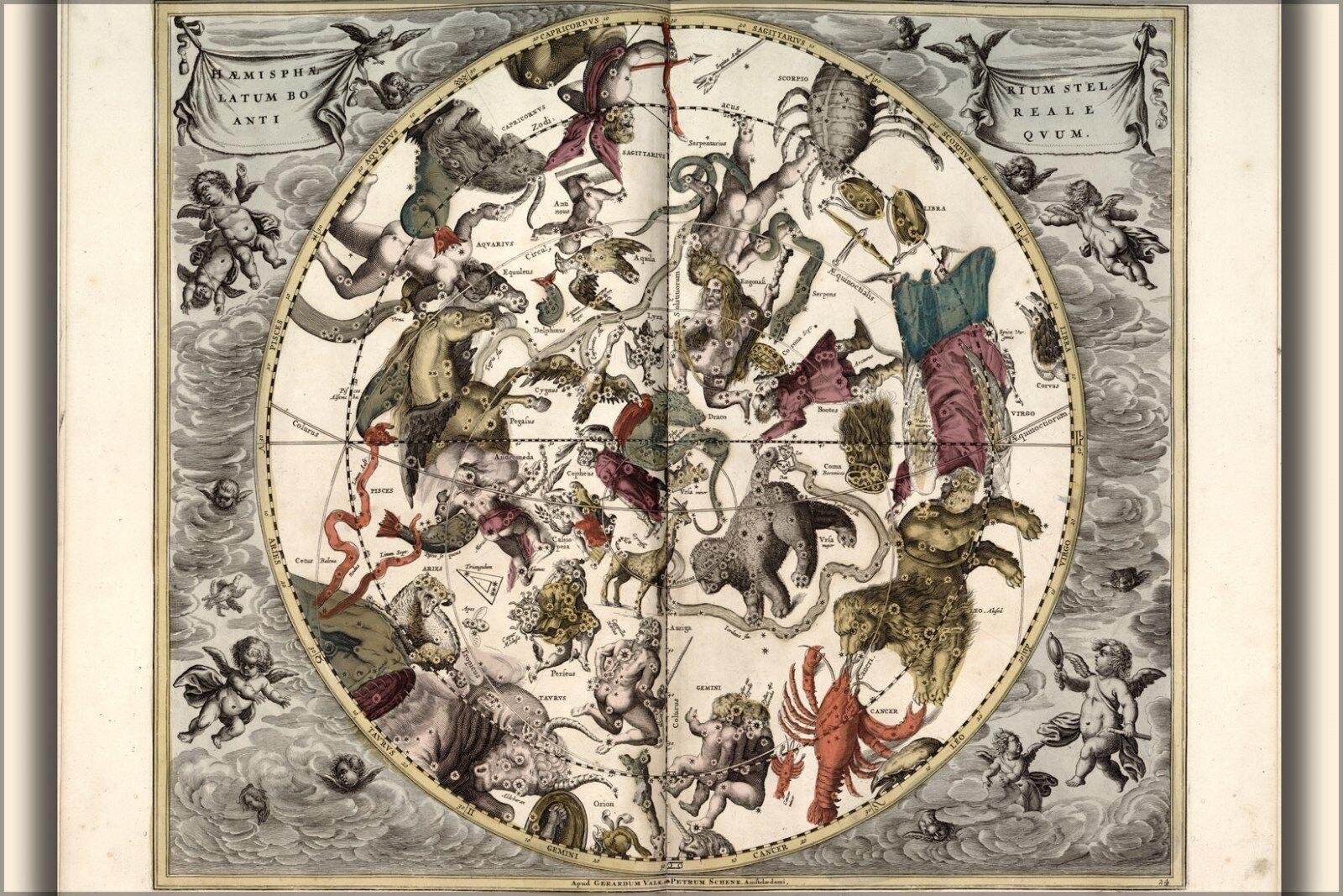 Poster, Many Größes; Map Of Constellations Zodiac Astrology 1708