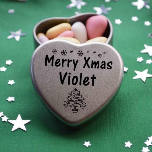 Merry xmas violet mini coeur Tin Cadeau Joyeux Noël Stocking Filler