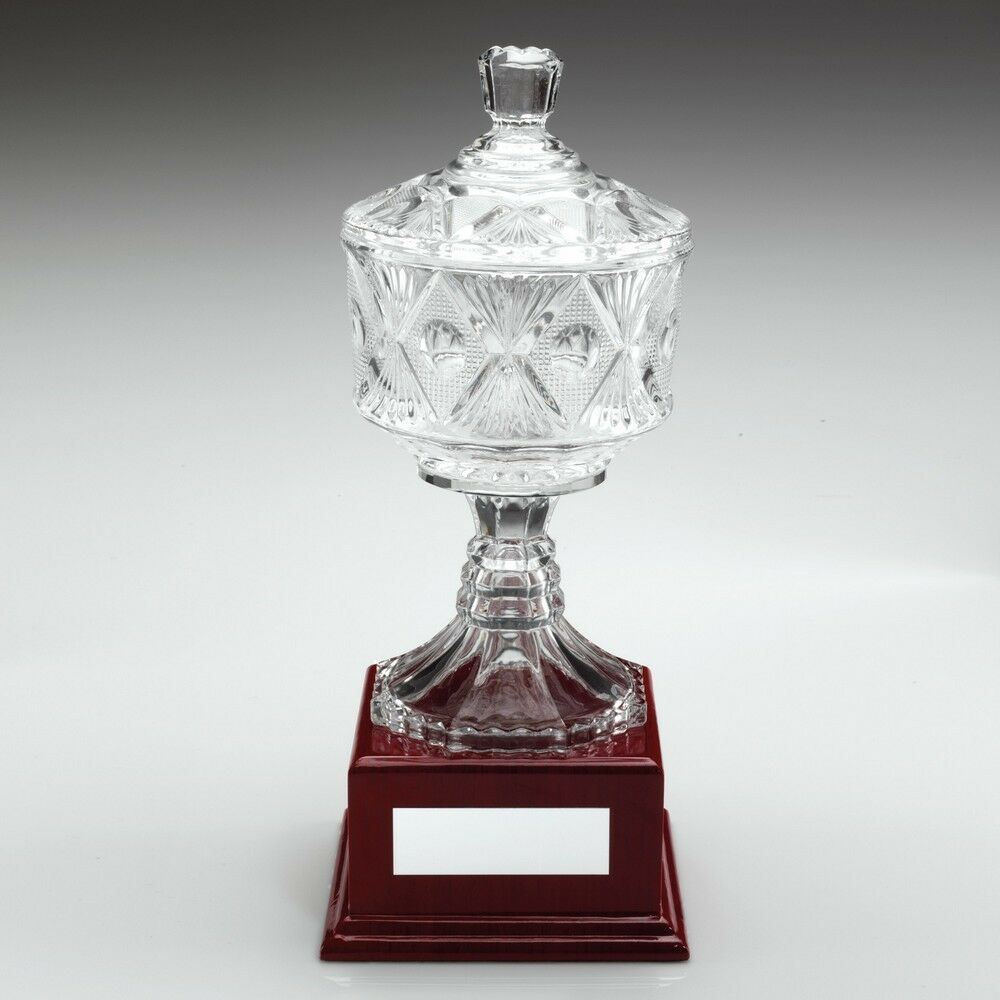 Quality Glass Trophy on Wooden Base 286mm Free Engraving (WGC1A) td
