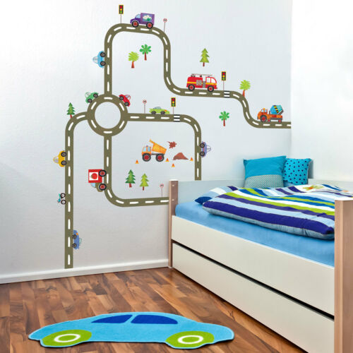 Doityourself road map wall sticker Transport themed decor for children