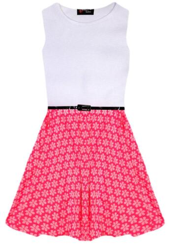 Girls Skater Dress Neon Pink Floral Retro Belted Party White New Age 5 7 9 11 13