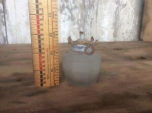 Small Kerosene Oil Lamp , Frosted Glass, Vintage