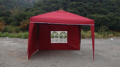 Faltpavillon Alu Pavillon burgund rot 3x3 m Gartenpavillon inkl 2 Seitenteile