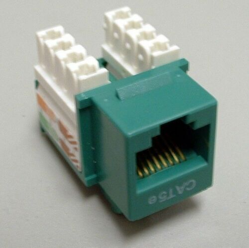 Green CAT5e Premium Keystone RJ45 110 Punch Down Keystone Snap-In Jack Insert