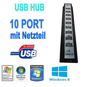 usb hub 2 0 mit 10 ports aktiv netzteil 3 0 a ebay. Black Bedroom Furniture Sets. Home Design Ideas