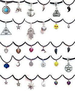 Black-Real-Leather-Cord-Choker-Charm-Necklace-Pendant-Retro-Hippy-Tibetan-Silver