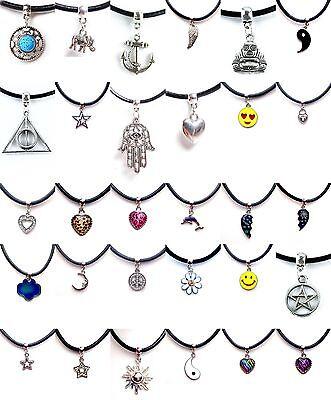 Black Real Leather Cord Choker Charm Necklace Pendant Retro Hippy Tibetan Silver