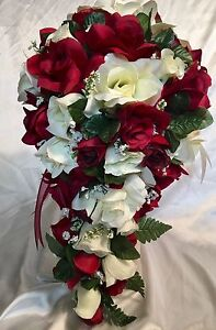 Image Is Loading 21 Piece Bridal Bouquet Package Silk Flowers Burgundy