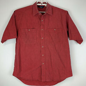 Vintage-Woolrich-Mens-Large-Shirt-Red-Striped-Short-Sleeve-Button-Front