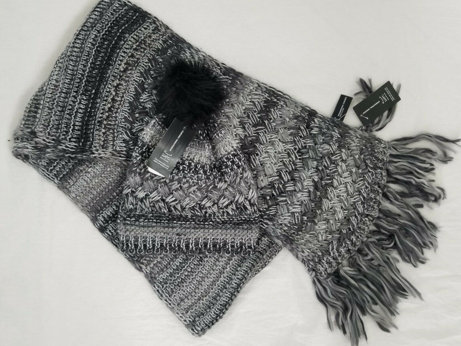 Inc International Concepts black knit winter scarf and pom pom hat gift set