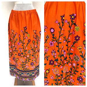 Vintage-VTG-1970s-70s-Alice-Polynesian-Orange-Dayglow-Floral-Maxi-Skirt